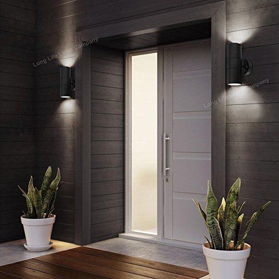 Modern Black Double Up Down Outdoor Stainless Steel Wall Light Use Gu10 Ip65 Amazon Co Uk G Garden Wall Lights Outdoor Wall Lighting Modern Outdoor Lighting