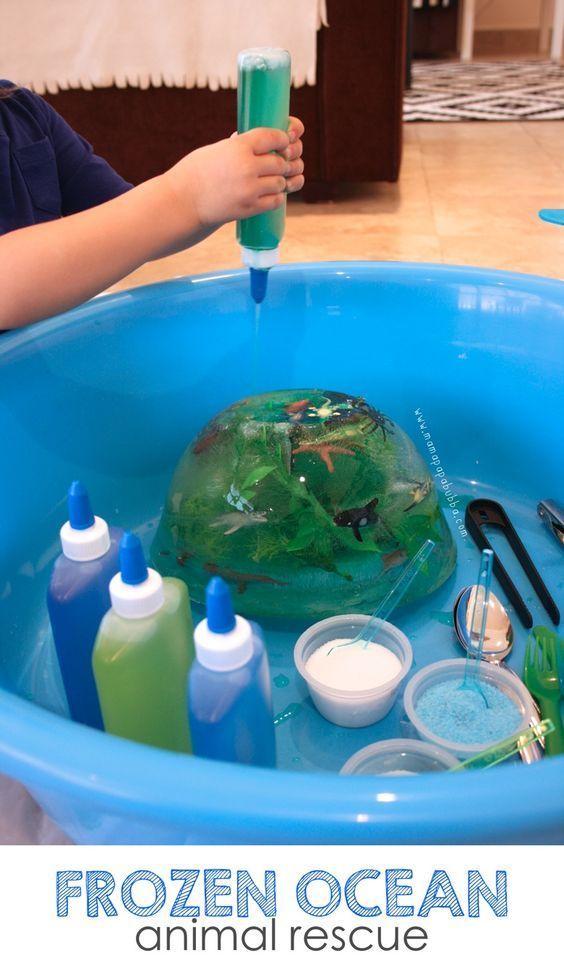 Frozen Ocean Animal Rescue {salt, water, & ice play}
