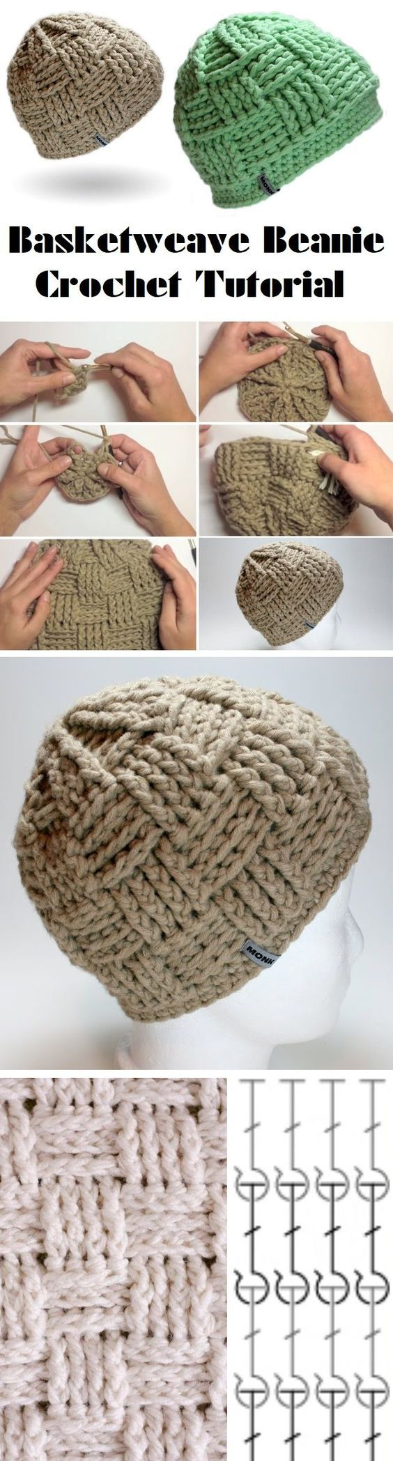 257 best crochet hatbeanie images on pinterest knit hats sully crochet hat see more basketweave beanie tutorial bankloansurffo Choice Image