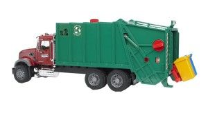 Bruder Toys Mack Granite Garbage Truck (Ruby, Red, Green) Bruder Toys are well made and very kid friendly. This rugged toy is both a precise rendering of the actual equipment and yet is rugged enough to stand-up to fairly hard use by a young boy. http://bit.ly/1ECAVOd