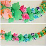 Luau Flower Shaped Paper Garland - 12 Ft Long