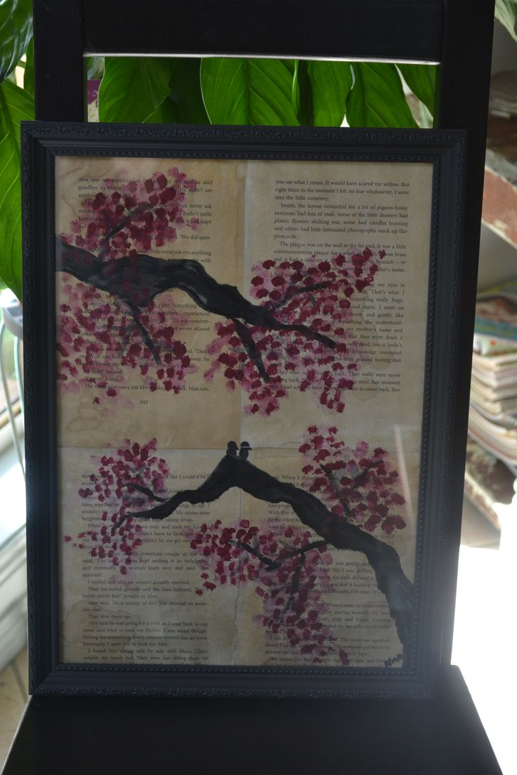 birds on blossom branches.. coffee stained paper with acrylic paint.. framed..