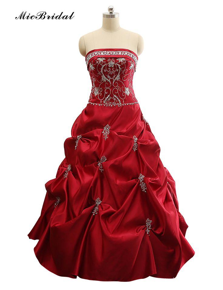 MicBridal Бургундия Вышивка Мусульманин Атласная Свадебное Платье Без Бретелек Abendkleider Яз 2016 MW-002 Vestidos де Noivas