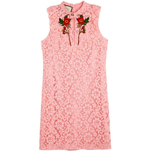 Gucci Pink poppy-embroidered lace mini dress (23.801.685 IDR) ❤ liked on Polyvore featuring dresses, red mini dress, pink frilly dress, red dress, ruffle dress and short dresses