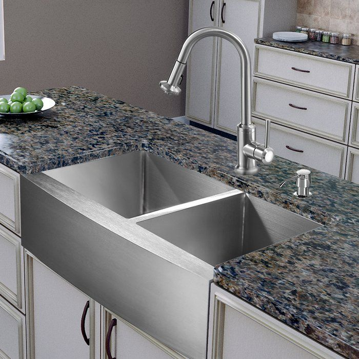 Bingham 36 L X 22 W Farmhouse Kitchen Sink With Faucet And Soap