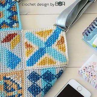 crochet bag pattern inspired by portuguese tiles pattern - tunisian crochet, cross stitch, cotton yarn, diy