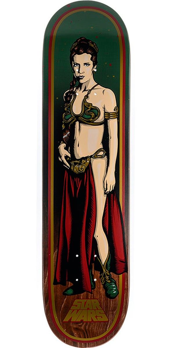 """Star Wars Slave Leia Skateboard Deck - 7.80"""" Santa Cruz and Lucasfilm have teamed up for the most epic collab in the history of the universe. Known for some of the most iconic graphics in skateboarding history, Santa Cruz created original illustrated graphics of classic Star Wars characters and slapped them on their decks resulting in the Santa Cruz x Star Wars collab skateboard decks."""