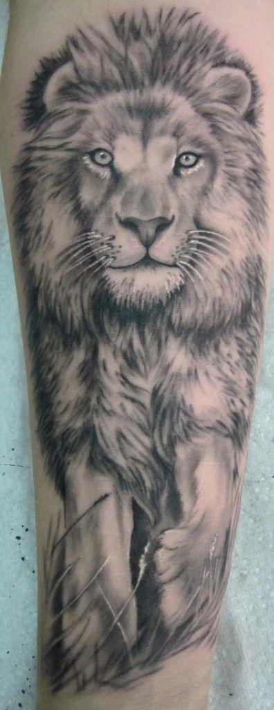 Realistic Lion Tattoo On Forearm
