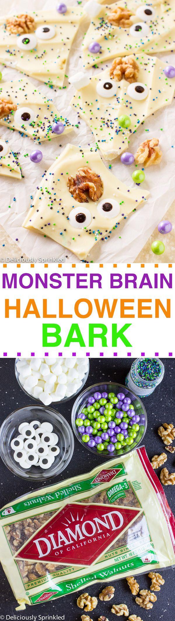 Monster Brain Halloween Bark- a super fun and easy Halloween party recipe!