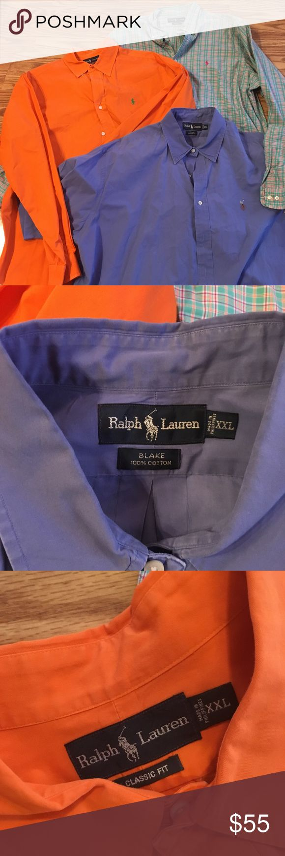 🔥sale👕 Lot Of 3 Polo Ralph Lauren Button Front XXL Pristine and condition was professionally laundered and taken to the dry cleaners.  These retail for $100+ per shirt (great savings) One is blue short sleeve  one is light green/turquoise long sleeve  one is orange long sleeve Best offer wins :) Polo by Ralph Lauren Shirts Casual Button Down Shirts