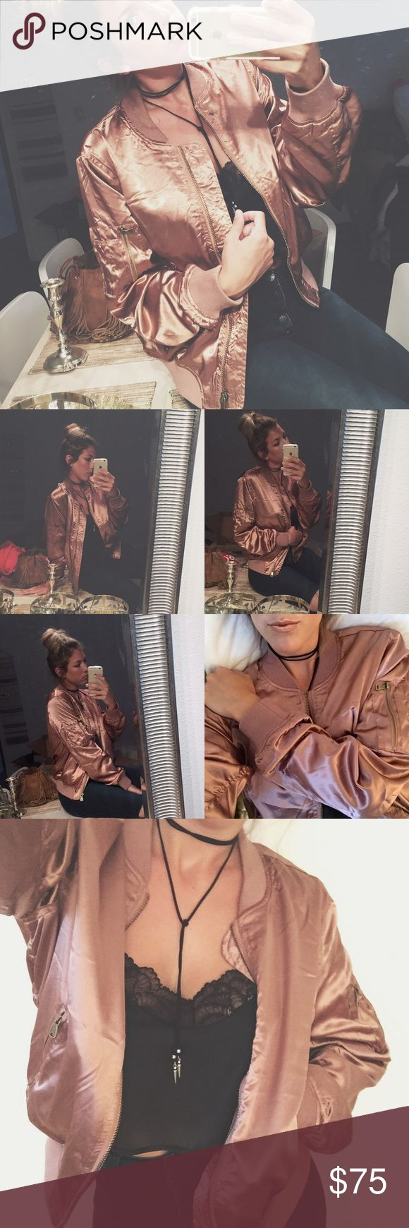ROSE GOLD SATIN SILK BOMBER JACKET Words cannot express how obsessed I am with this stunning rose gold bomber! It is literally PERFECTION. The perfect jacket for the season, super versatile & soooo comfy/easy to wear. Team yours w/ some distressed jeans & some super high pumps or dress it down for casual wear w/ your favorite sunnies, black leggings & sneakers. This style is seen on many celebs & this gorgeous rose gold color is rare & hard to find so pick this baby up while you can…