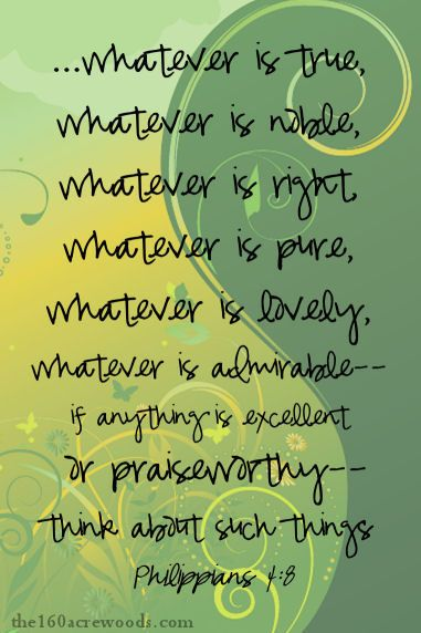 Think on: whatever is true, noble, right, pure, lovely, admirable, excellent, praiseworthy: Philippians 4:8
