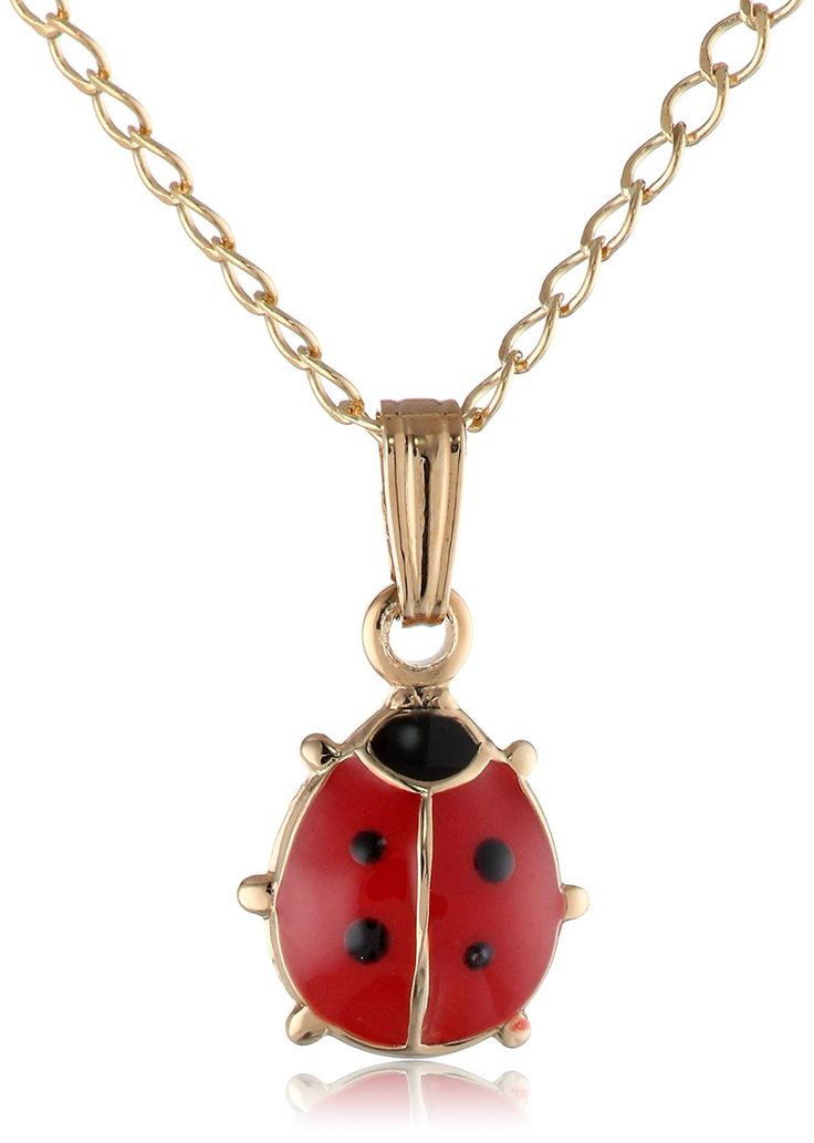 Children's 14k Gold-Filled Red and Black Ladybug Pendant Necklace, 15' ** Want additional info? Click on the image. (This is an Amazon Affiliate link and I receive a commission for the sales)