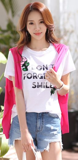 StyleOnme_Sequined Rose Slogan T-Shirt #white #spring #summer #cute #smile #tee #koreanfashion #kstyle #dailylook #seoul