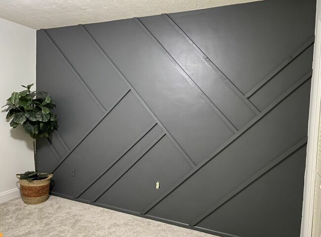 How To Make A Geometric Accent Wall Diy In 2020 Diy Accent Wall Accent Wall Wood Accent Wall