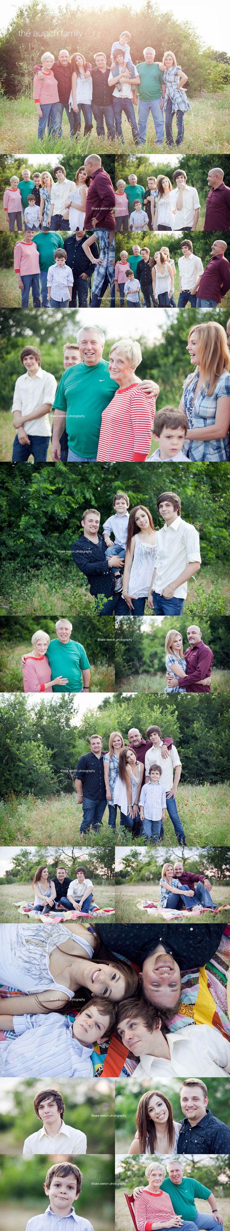 large/extended family shoot - I love the natural faces and poses; much prettier than posing.
