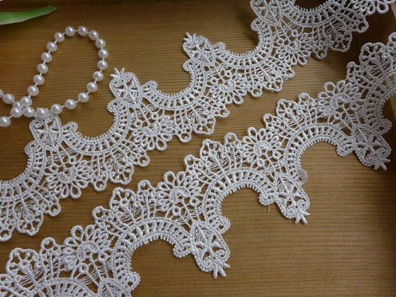 Exquisite White Lace Trim Antique Lace Fabric Trim For Bridal, Headbands, Sashes, Jewelry, Garments    This listing is for 2 yards.    Width: 1.96 (5