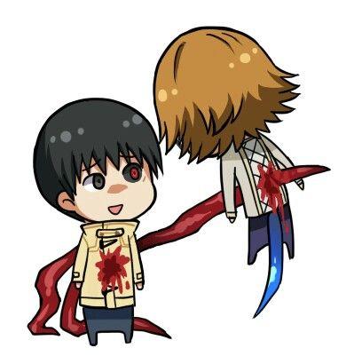 Chibi Kaneki & Nishiki. Kaneki: uhh, sorry 'bout this. Nishiki: are you serious? dang it Kaneki.