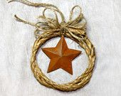 Western Cowboy Rope with Rusty Tin Star Christmas Ornament