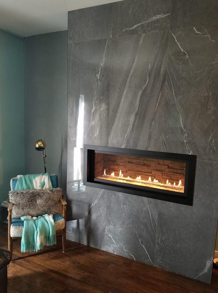 large format porcelain tile fireplace