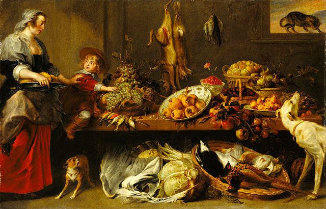 Kitchen Still Life with a Maid and Young Boy (Getty Museum):