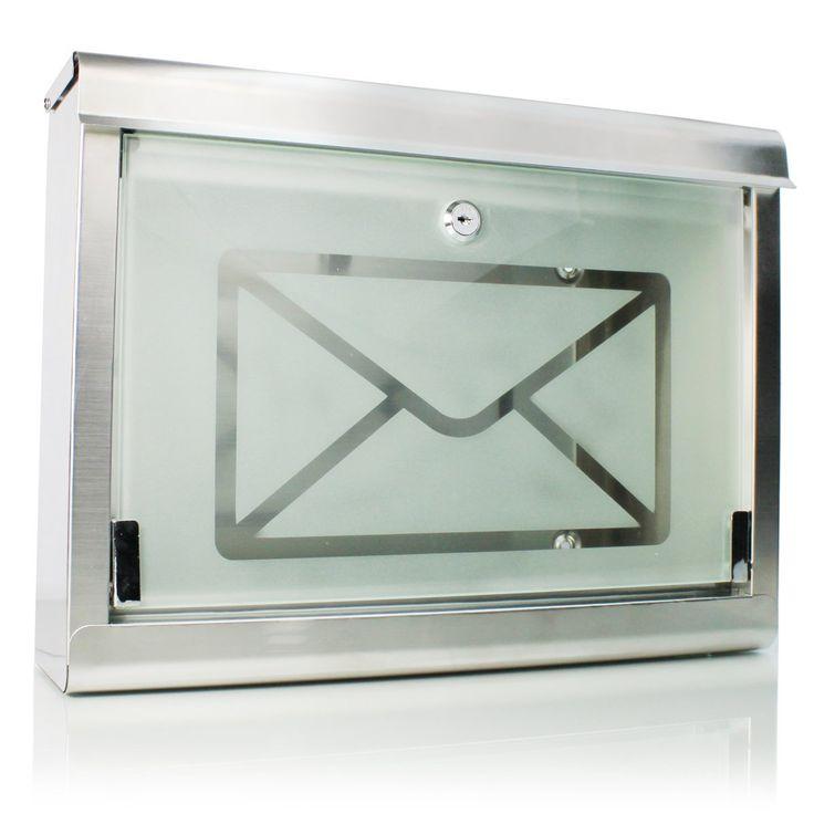 SUPER 051 Design Briefkasten mit Glastür & Zeitungsrolle + gebürstetes Edelstahl & Milchglas + mit Sichtfenster & Schutzklappe + rostfrei + abschließbar + inkl. Befestigungsmaterial (Schrauben & Dübel) und 2 Schlüsseln: Amazon.de: Baumarkt