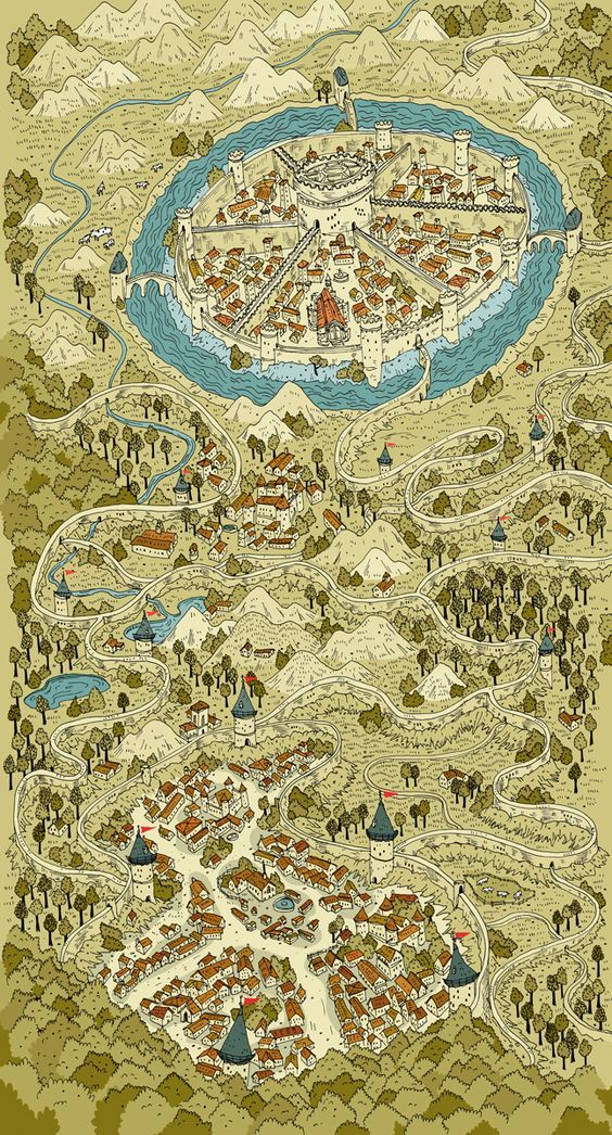 kingdom walled city mountains moat castle map cartography on walled id=23095