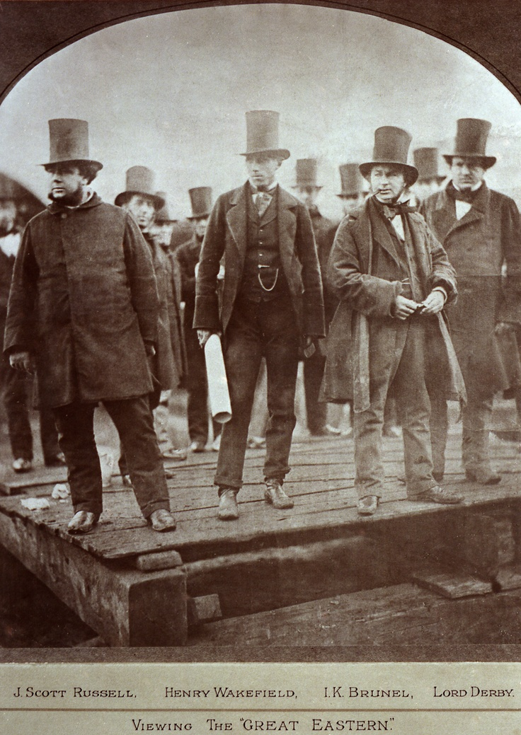 Isambard Kingdom Brunel, Lord Derby, Henry Wakefield and John Scott Russell viewing the 'Great Eastern'