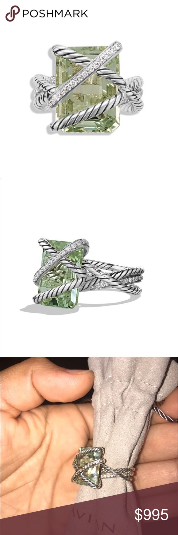 David Yurman 925 Prasiolite And Diamonds ring 💍 Authentic. Stunning and hard to find. Sold out. Gorgeous David Yurman Cable Wrap Sterling silver Prasiolite and Diamonds ring. Goes with every outfit. Very minimal wear. Dustbag is included. Ring will be authenticated by Poshmark Concierge at no extra cost. ❌❌NO TRADEX❌❌Ring retailed for $1450 plus taxes. A must have and great to add to your collection. 😊❌FIRM PRICE❌❌FIRM PRICE❌❌ David Yurman Jewelry Rings