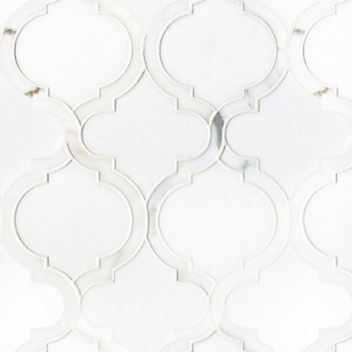 Artistic Tile Chateau Collection Toledo Blanc Thassos Polished background w/ Calacatta Gold Polished lines - Accent tile in shower