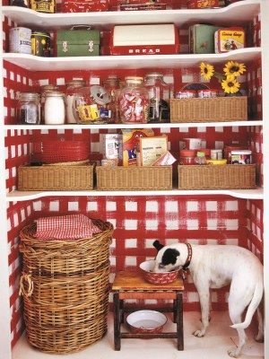 Decorating with Red - I like the way the shelves are cut. Easy to see and reach things better than with deep shelves,