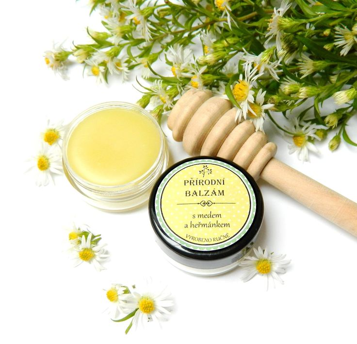 59 CZK ❀ Jemný, voňavý přírodní balzám s obsahem medu a příjemné, líbívé vůmě Heřmánku modrého. Obsahuje olivový olej, včelí vosk, vitamín E, med z Jižní Moravy a přírodní etérický olej z květů Heřmínku modrého a… | vavavu