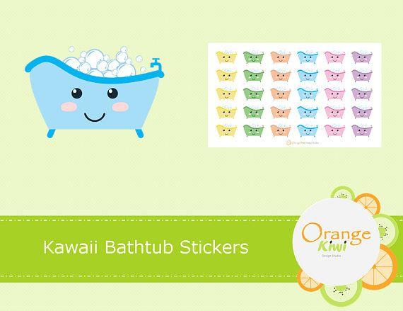 Kawaii Bathtub Bathtime Stickers Bath Stickers Planner