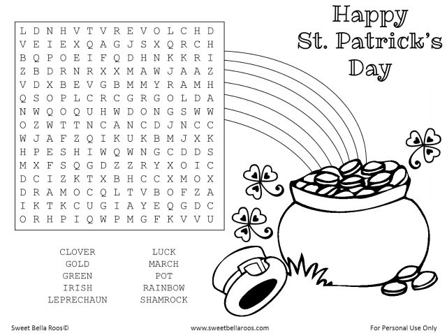 Free St Patricks Day Word Search Coloring Page Printable Sweetbellaroos