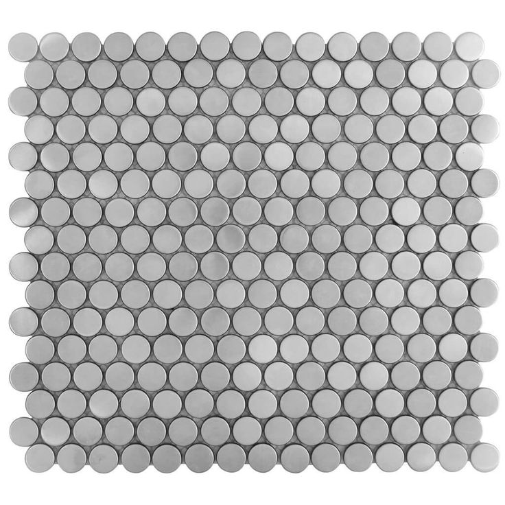 Malla Decorativa Penny Silver con círculos de acero inoxidable mate. Medida (cm) 30 x 30 Grosor (cm) 0.8