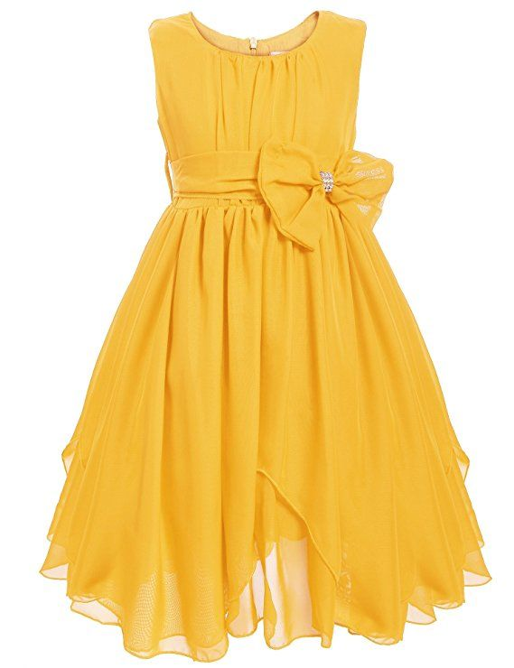 1780c9c880661 Amazon.com: Arshiner Sleeveless Chiffon Asymmetric Ruffled Flower Girl Dress,  Pink, 90(Age for 2-3Y): Clothing