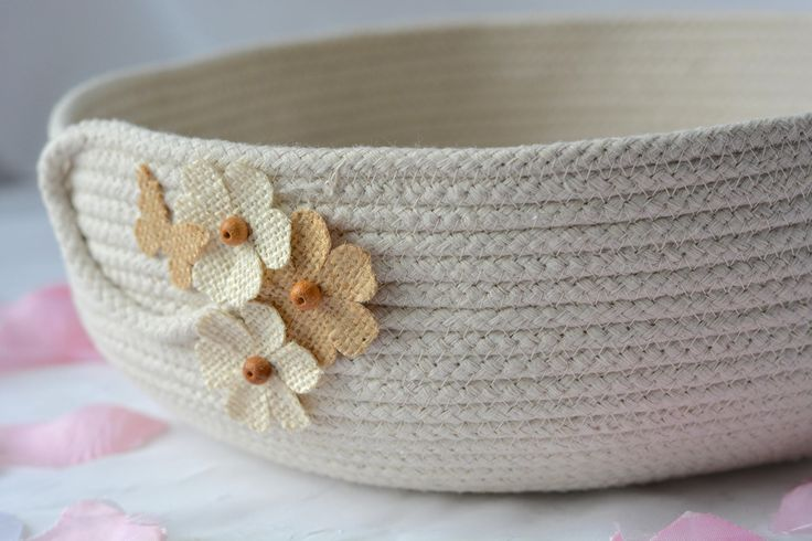 Beige Bath Bowl, Handmade Rope Basket, Modern Clothesline Basket, Lovely Cream Bowl,  hand coiled natural rope basket by WexfordTreasures on Etsy