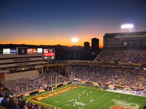Sunset at Sun Devil Stadium, Arizona State University, Tempe Campus