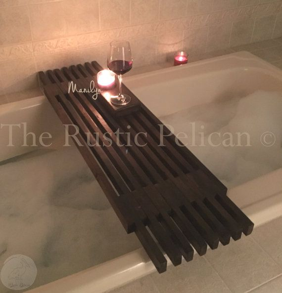 Reclaimed Wood Tub Caddy Rustic Bathtub Tray di RusticPelican