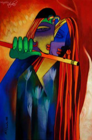 modern Radha and Krishna acrylic painting by Rajesh Shah