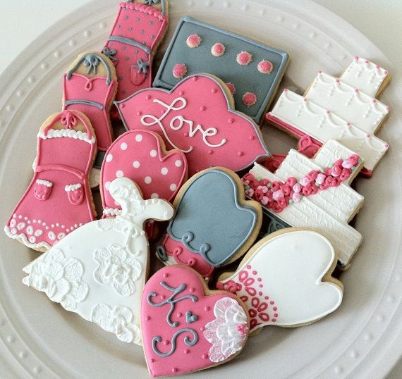 Baking Themed Bridal Shower Decorated Cookies by peapodscookies