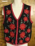 2sided Poinsettias Themed Cheap Christmas Sweater Vest