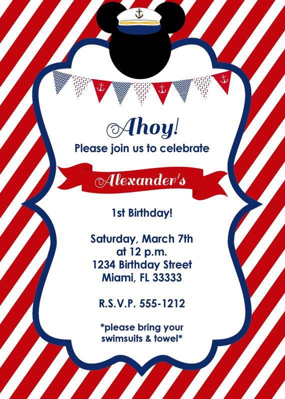 Nautical Mickey Mouse Birthday Invitation by LoveLifeInvites, $12.50