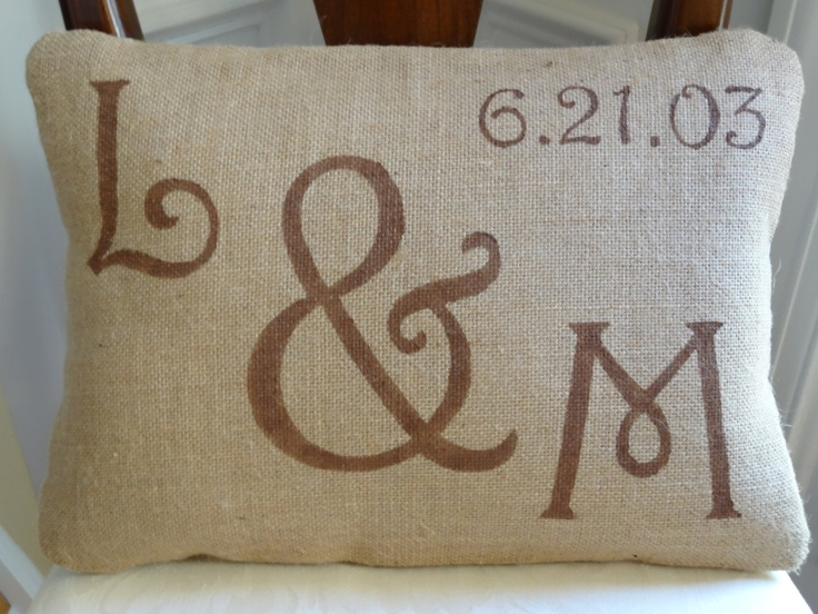 Monogram and dated anniversary pillow by onthetabledesigns on Etsy & 70 best Pillow ideas images on Pinterest | Pillow talk Burlap ... pillowsntoast.com