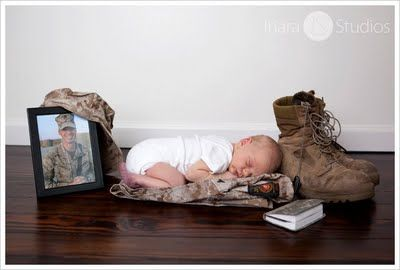 Baby Landon, whose Marine father passed away a month before his birth. So heartfelt...beautiful image even for living military fathers.