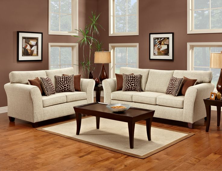 Hockley Contemporary Tan Fabric Sofa And Love Seat With Throw Pillows Find This Pin More On Individual Living Room Furniture