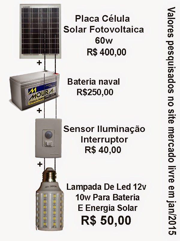 inventos simples: ENERGIA LIMPA PARA LAMPADA NOTURNA, DEIXAR A LAMPA...
