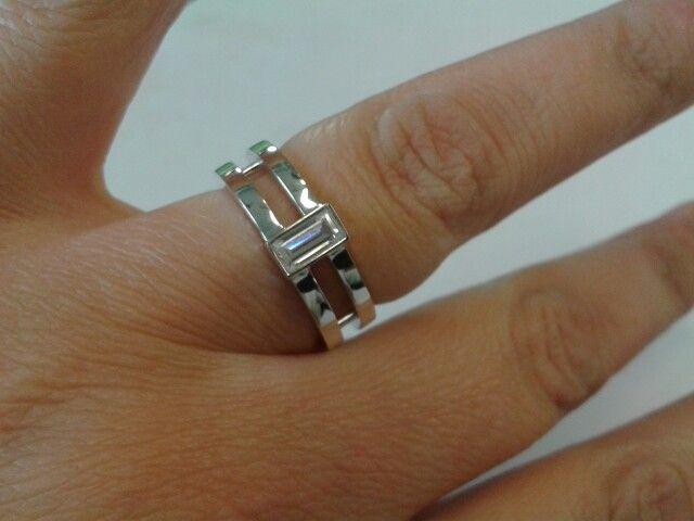 Dubbele ring met zirconia (zilver)