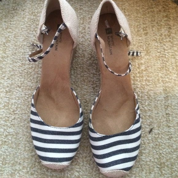 Nautical espadrille wedges Ankle strap striped nautical espadrille wedges. Worn lightly. Perfect condition! White Mountain Shoes Wedges