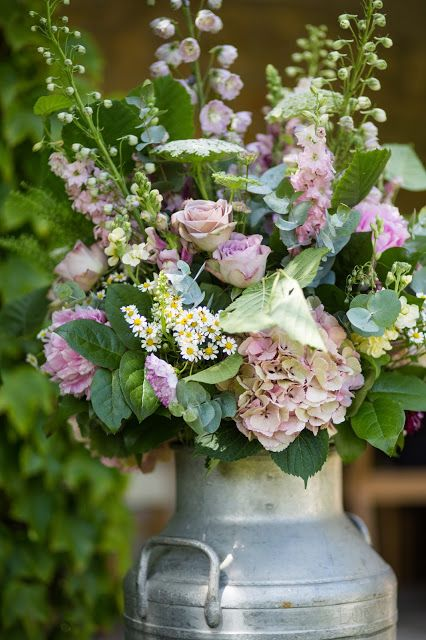 milkchurn wedding flowers english cottage garden Roses and Rolltops : One Year S…